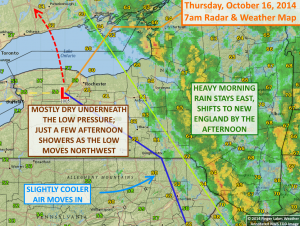 With low pressure overhead, most of the rain today will fall east of the Finger Lakes. Click image to enlarge.