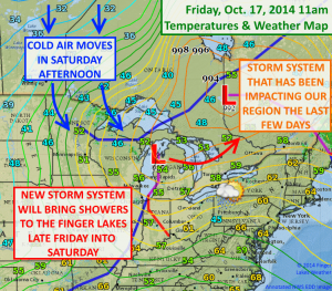 A new storm system will move into the region Friday night with showers lingering into Saturday. Click image to enlarge.