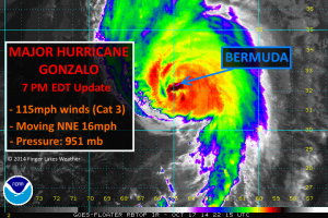 6:15 pm EDT Satellite shows the worst of Gonzalo striking Bermuda. Click image to enlarge.