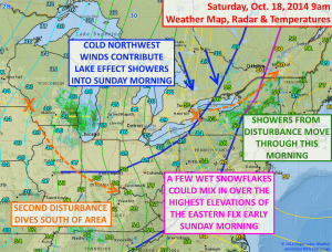 Cold air will move in behind a disturbance today. Click image to enlarge.