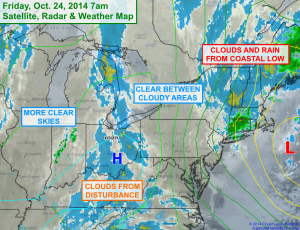 Areas of clouds (white, blue and yellow)  alternate with clear areas (darker greys) on this infrared satellite image. Click to image to enlarge.