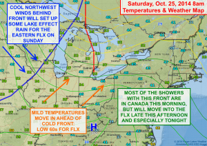 A cold front will move through the Finger Lakes tonight, but not until after a mild day Saturday. Click image to enlarge.