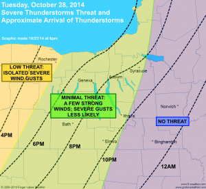 Oct. 28, 2014 approximate arrival times of thunderstorms (dashed lines) and severe threat (shading). Click image to enlarge.
