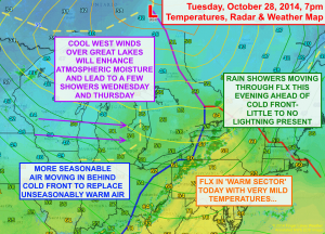 A cold front will move through tonight, replacing warm air with more seasonable temperatures. Click image to enlarge.