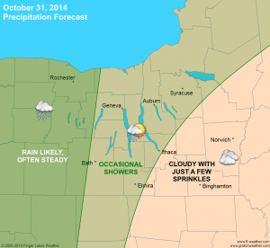 Rain chances and characteristics across the Finger Lakes on Oct. 31, 2014