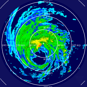 6:43 EDT radar shows the eye of Hurricane Gonzalo will soon spread over Bermuda. Click image to enlarge.