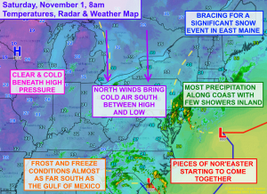 The weather map is busy this morning as cold air invades south and a major nor'easter develops off the east coast. Click image to enlarge.