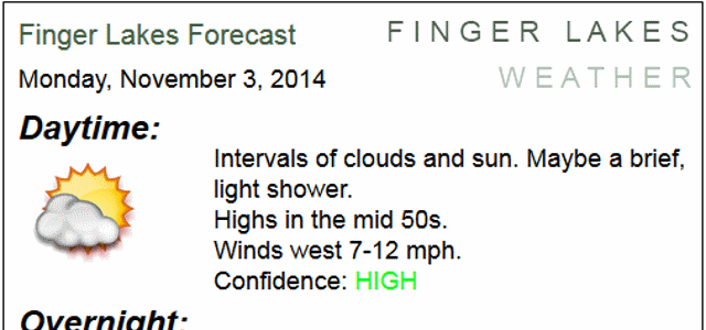 Morning Forecast-on-the-Go: Monday, November 3, 2014