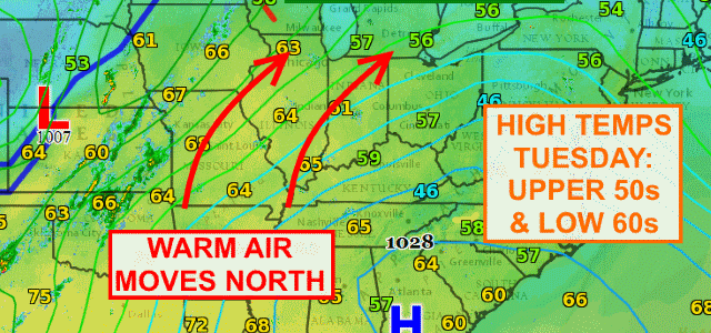 Warm Tuesday ahead of cold front Tuesday night