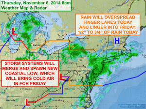 A rainy day is expected across the Finger Lakes Thursday. Click image to enlarge.