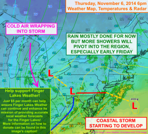 Thursday evening's weather map shows a break in the rain over the Finger Lakes, but more showers- and cold- will move in. Click this image to be taken to the 2014 Fall Fundraiser page!