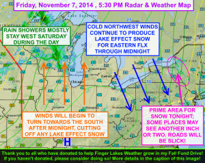 Lake effect snow will continue to impact the eastern Finger Lakes this evening before winds shift and cut the snow off. Click to enlarge. Please click the image at the top of this post to make a donation to FLX Weather for the Fall Fund Drive!