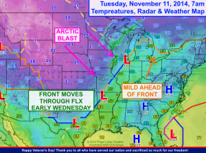 Arctic air is flooding the central US behind a cold front that will arrive in the FLX overnight. Click image to enlarge.