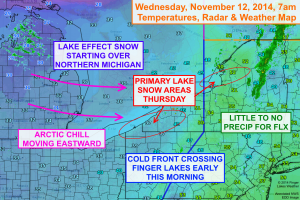 An arctic cold front is moving through the Finger Lakes this morning. Some lake effect snow will start to develop tonight into Thursday to the east of the Great Lakes. Click image to enlarge.