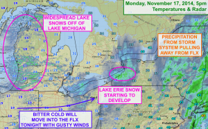 Bitter cold and lake effect snow are showing up just to the west of the Finger Lakes and will overspread western and central New York this evening. Click to enlarge.
