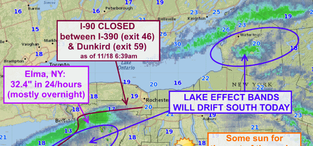 Lake effect blizzards ongoing, set to drift south today