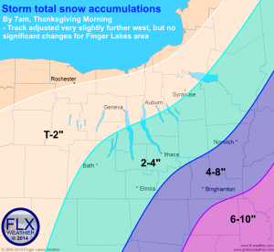 Expected snow totals over the Finger Lakes region by Thursday morning. These totals are very similar to amounts predicted yesterday. Click image to enlarge.