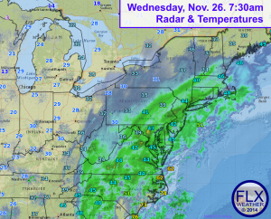 Wednesday 7:30 am radar shows a large storm system spanning across the east coast. Much of the precipitation early on is rain, but will change to snow as the day goes on. Click image to enlarge.