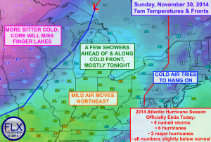 Temperatures will rise between a warm front to our east and a cold front to our west today. Click image to enlarge.