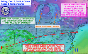 A storm system will bring rain to the area tonight and Saturday. Click image to enlarge.