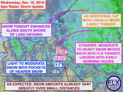 Steadier moderate to heavy snow will move back into the region overnight. Click image to enlarge.