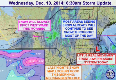 Snow will overspread the Finger Lakes and last much of the day. Click image to enlarge.