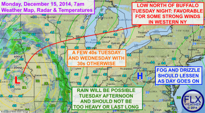 Some rain showers are possible Tuesday afternoon as temperatures push towards or even above 40º. Click image to enlarge.