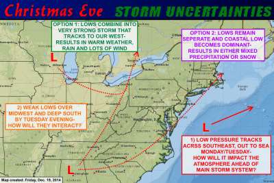 A variety of options are on the table for the Christmas Eve storm. About the only thing certain at this point is that there will be some sort of active weather to deal with. Click image to enlarge.