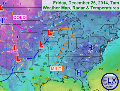 High pressure over the Southeast will keep the Finger Lakes mild with southerly winds. Click image to enlarge.