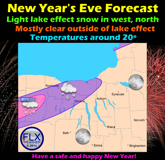 Some occasional lake effect snow is possible across the northern and western areas of the Finger Lakes, but the rest of the region should stay mostly clear.