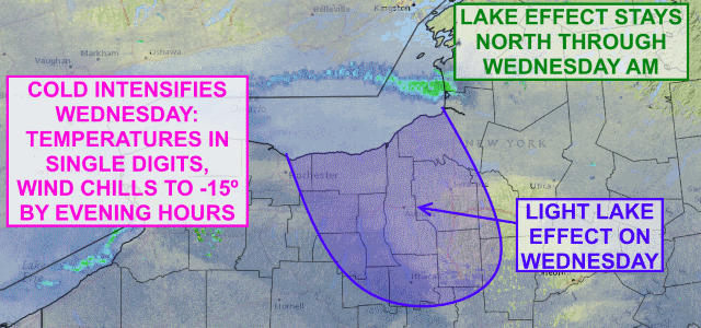 Wind Chill Advisories posted as clipper brings intensifying shot of cold to Finger Lakes