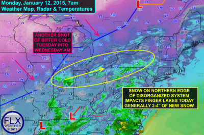 """Light snow, on the order of 2-4"""", will fall across the Finger Lakes throughout Monday. Click image to enlarge."""