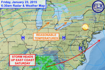 High pressure will keep the Finger Lakes sunny today with highs in the low 30s. Click image to enlarge.