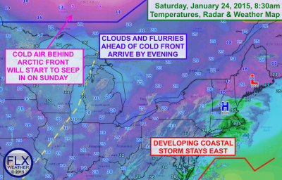 A coastal storm will impact areas south and east of the Finger Lakes while an arctic front approaches from the northwest. Click image to enlarge.