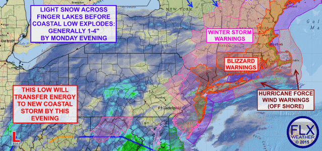 A small piece of history: how the coastal 'Blizzard of 2015' will impact the Finger Lakes
