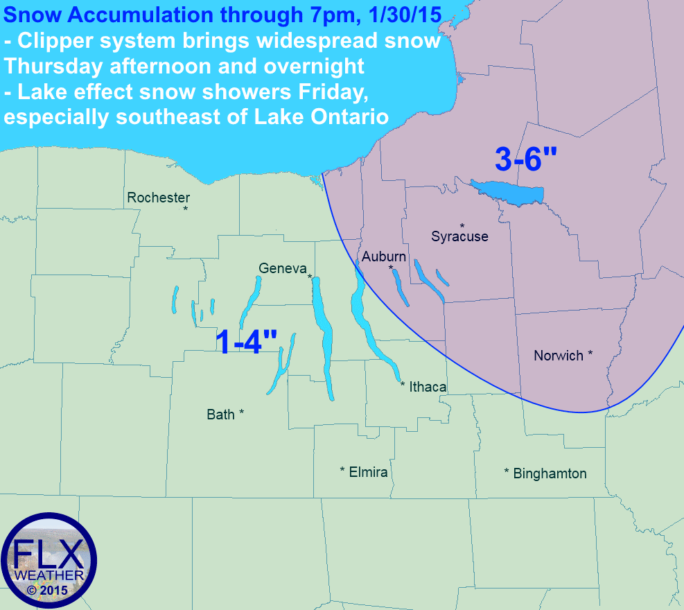 A clipper system will bring snow to the Finger Lakes region, starting Thursday afternoon and lingering through Friday. Generally, a couple inches will fall, with the potential for lightly more further east thank to lake effect snow on Friday.