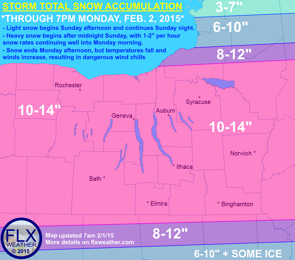 For the southern half of the Finger Lakes region, nothing has changed in what continues to be a high-confidence forecast in roughly a foot of snow across the area. Those same high amounts of snow are now expected all the way to the Lake Ontario shore, as confidence on the northern edge of the system increases. Snow is still expected to start lightly this afternoon and become heavy overnight.