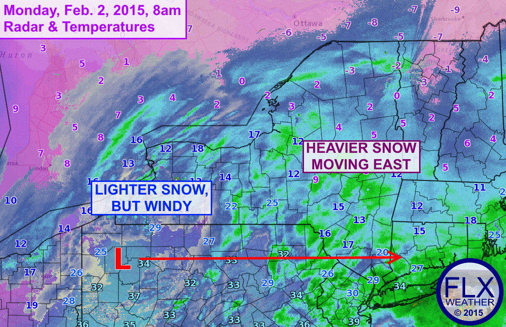 With heavier snow now pushing east, cold air and gust winds are starting to take over.