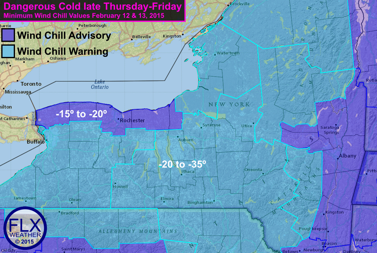 Subzero temperatures will combine with breezy conditions to push wind chills to dangerous levels. Frostbite can occur in under 30 minutes at these temperatures. Dangerous wind chills are expected into Friday afternoon.