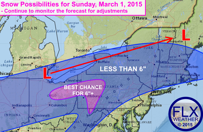 With calm, sunny weather over the Finger Lakes Friday and Saturday, attention now turns  to the next weather maker, which is set to bring a few inches of snow to the region Sunday night.