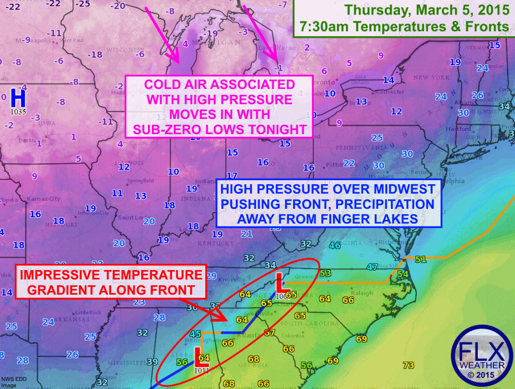 High pressure over the Midwest will shift east, resulting in clearing skies and subzero temperatures Thursday night.