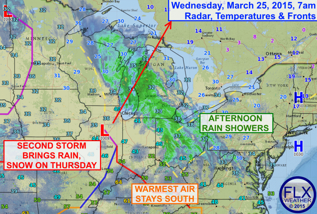 Rain showers will move into the Finger Lakes Wednesday afternoon as a storm system lifts into the Great Lakes. A second, more potent system on Thursday will spread rain and accumulating snow across the region.