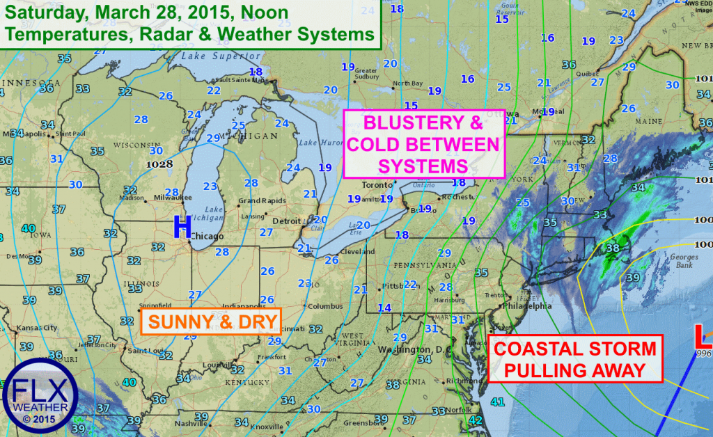Gusty north winds between strong low pressure off the east coast and high pressure over the Midwest will keep the Finger Lakes cold on Saturday, despite some sunshine.
