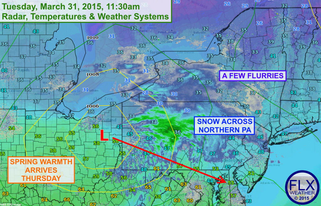 A clipper system is diving southeast across Pennsylvania, keeping most of its snow to the south of the Finger Lakes..