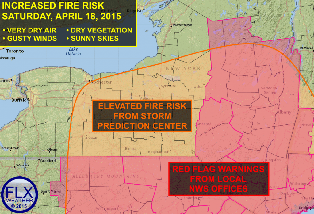 Gusty winds, very dry air, and dry, dead vegetation from last year will all combine to bring an elevated fire danger to the Finger Lakes on Saturday.