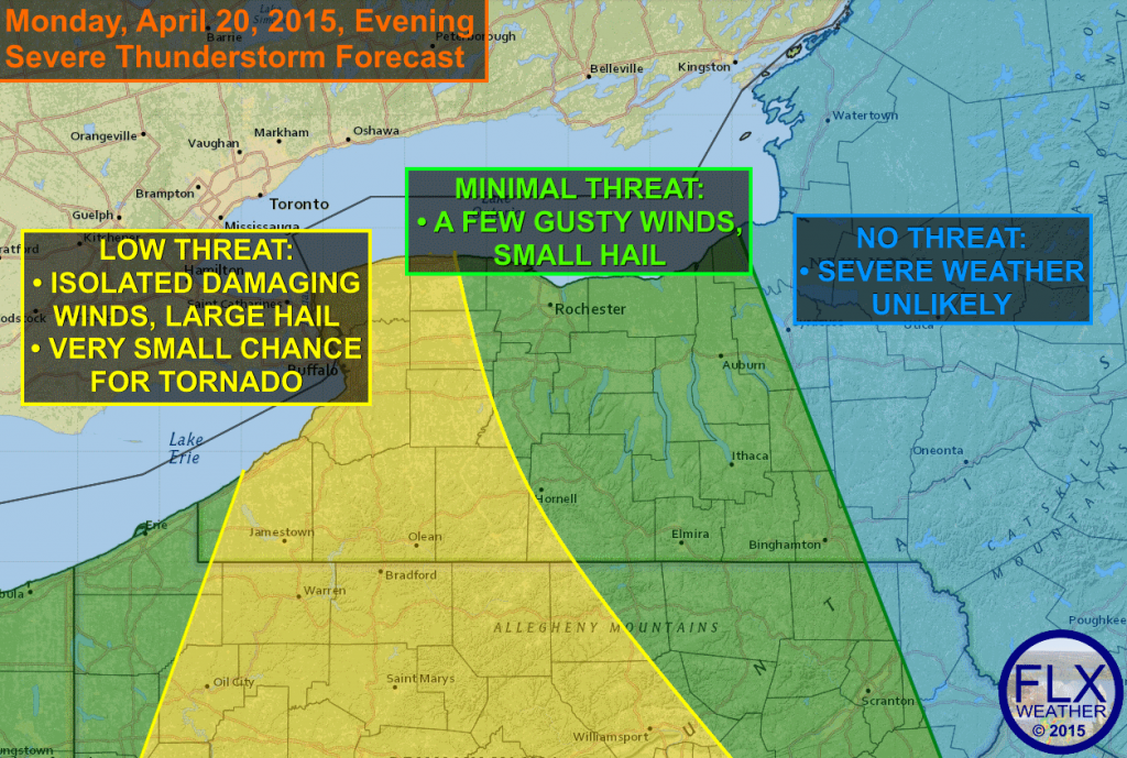 A few strong to severe thunderstorms may be possible this evening, especially over western New York. Isolated strong winds and some hail are the primary threats. The severe threat will lessen as the storms move into the Finger Lakes as the sun sets.