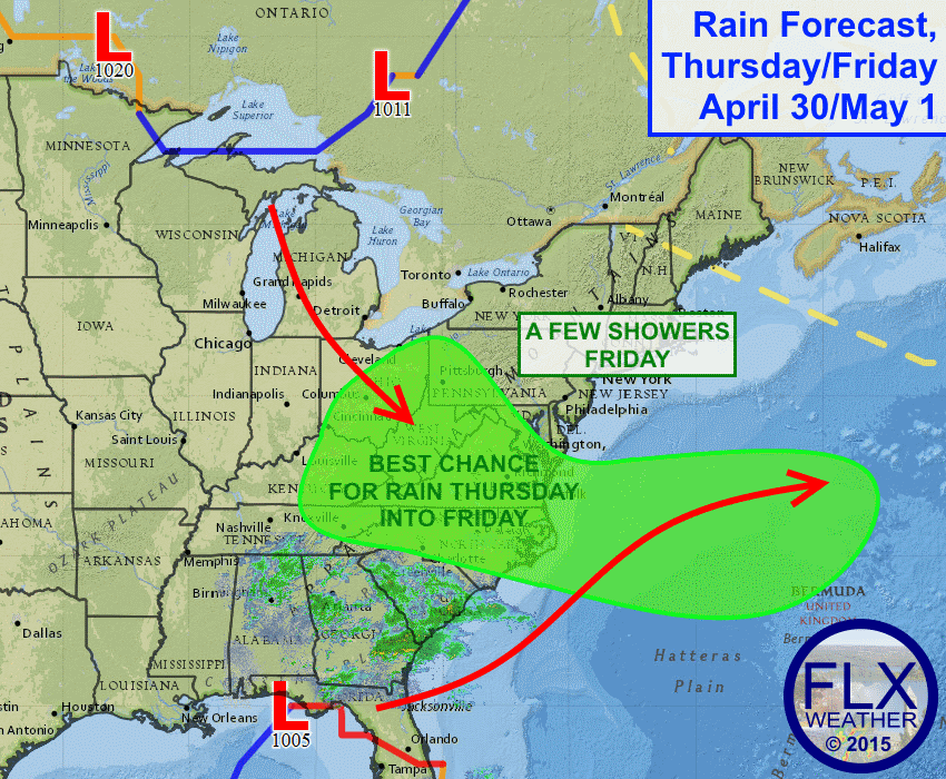 A pair of storm systems will interact to bring rain over the Mid-Atlantic Thursday and Friday. A few stray showers may make it into the Finger Lakes on Friday.