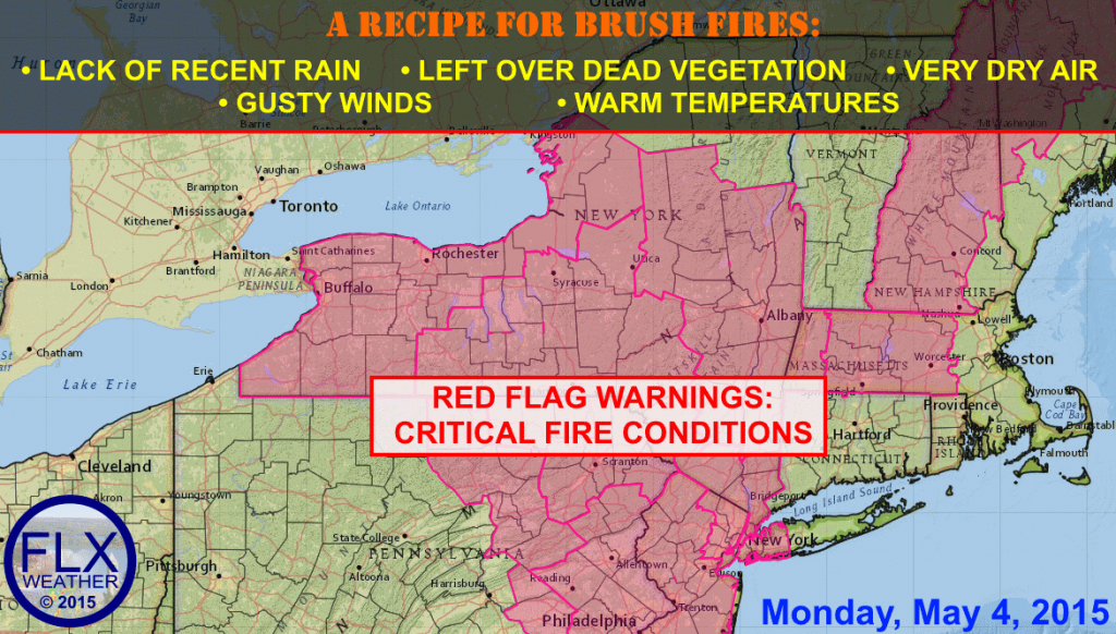 Red Flag Warnings for critical fire weather conditions have been issued for all of central and western New York for Monday afternoon.