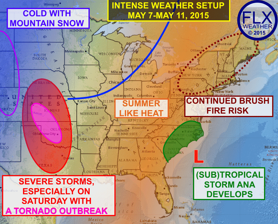 A period of extreme weather will unfold over the coming days, with well above normal temperatures, severe weather, spring snow and even a tropical storm impacting various parts of the eastern 2/3rds of the nation.
