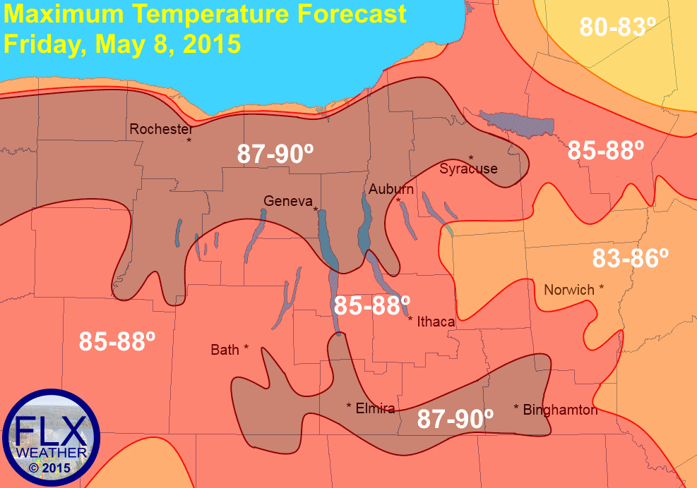 Temperatures will rise into the mid and upper 80s Friday afternoon across the Finger Lakes, with a few of the warmest locations possibly touching 90º. Most of the area has not seen significant rain in two or more weeks.